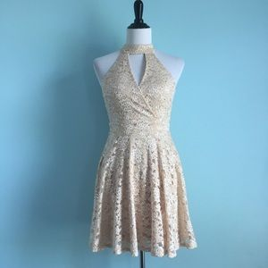 NWT Champagne Lace Choker Halter Fit & Flare Dress